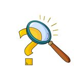 Magnifying glass and question royalty free illustration