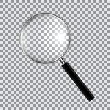 Magnifying glass realistic isolated on checkered background, vector illustration stock illustration