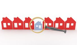 Magnifying glass and row of houses Stock Images