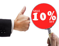 Magnifying glass and sale 10% Stock Image