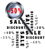 Magnifying glass sale poster. Magnifying glass sale and discount poster Stock Photo