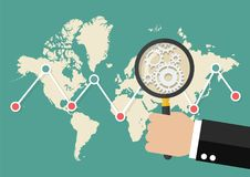 Magnifying glass scan stock market graph with world map. Data analysis global trend Stock Photo
