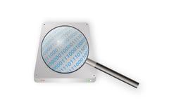 Magnifying glass scanning on harddisk Royalty Free Stock Images