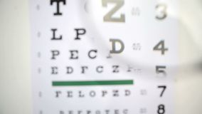 Magnifying glass scanning over eye test Stock Images