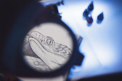 Magnifying glass and scetch. Look through the magnifying glass to see details of scetch Stock Photos