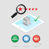 Magnifying glass search for booking hotel condition icon. Vector Stock Photo