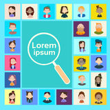 Magnifying Glass Search Candidate Job Position Recruitment Group People Businesspeople Umployment. Flat Vector illustration Royalty Free Stock Photography