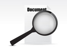 Magnifying glass - Search the document Stock Photography