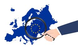 Magnifying glass search on europe map vector Stock Image