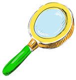 Magnifying glass search find icon illustration. In sketch style Royalty Free Stock Photo