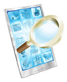 Magnifying glass search icon  phone concept Royalty Free Stock Photo