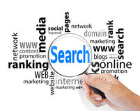 Magnifying glass with search SEO Royalty Free Stock Images