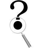 Magnifying Glass searches answer question mark. A magnifying Glass searches for an answer to a question mark with black dot copyspace Royalty Free Stock Photos