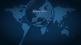Magnifying glass searches and finds the city of Amsterdam on dotted world map. 3D rendering royalty free stock photo