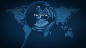 Magnifying glass searches and finds the city of Barcelona on dotted world map. 3D rendering royalty free stock photo