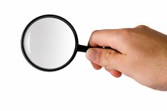Magnifying glass (searching). Magnifying glass hold in right hand (searching Royalty Free Stock Images