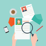 Magnifying glass searching business people2. Magnifying glass searching business people, Human resources, vector illustration Royalty Free Stock Images