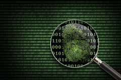 Magnifying Glass Online Fingerprint. Magnifying Glass searching code for online activity Royalty Free Stock Image