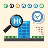 Magnifying glass searching for hotel. With service icon Royalty Free Stock Images