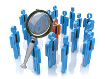 Magnifying glass searching people. In the design of information related to business Stock Photo
