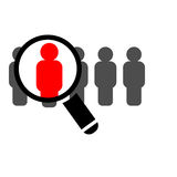Magnifying glass searching people. Hiring concept stock illustration