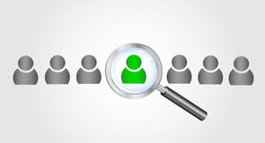 Magnifying glass searching people. Job search conc. Vector eps10. Illustration. Magnifying glass searching people. Job search concept Royalty Free Stock Images
