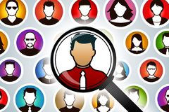 Magnifying Glass Searching People. A magnifying glass searches for the right person for the job Stock Images