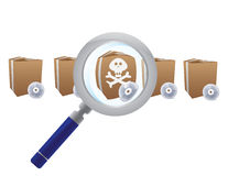 Magnifying glass searching for virus Royalty Free Stock Photos