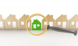 Magnifying glass selects or inspects a eco-home in a row of houses Royalty Free Stock Photos