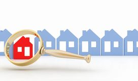 Magnifying glass selects or inspects a home in a row of houses. Concept of search of house for residence, real estate investment, inspection Royalty Free Stock Photos