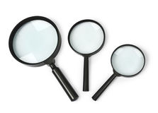 Magnifying glass set. On white background royalty free stock photography