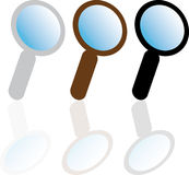 Magnifying glass. Set of three magnifying glasses Stock Images