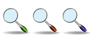 Magnifying glass set Stock Photos