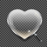 Magnifying glass in the shape of the heart on transparent background Stock Image