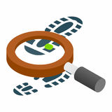 Magnifying glass and shoe isometric 3d icon Stock Photography