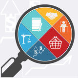 Magnifying glass and shopping basket Royalty Free Stock Photography