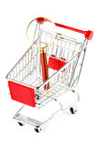 Magnifying glass & shopping trolley Royalty Free Stock Image