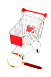 Magnifying glass & shopping trolley Stock Images