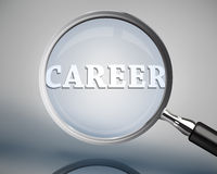 Magnifying glass showing career word in white Stock Images