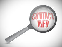 Magnifying glass showing contact info word Stock Images