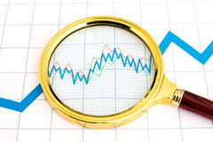 Magnifying glass showing details of trend graph Royalty Free Stock Images