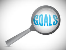 Magnifying glass showing goals word Stock Image