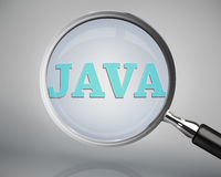Magnifying glass showing java word Stock Images