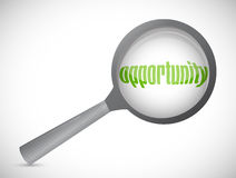 Magnifying glass showing opportunity word Royalty Free Stock Photo