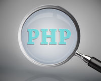 Magnifying glass showing php word Stock Image