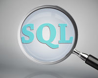 Magnifying glass showing sql word Royalty Free Stock Photos