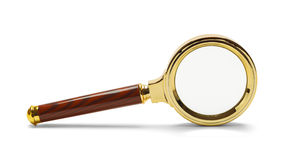 Magnifying Glass On Side. Gold Magnifying Glass on Side Isolated on a White Background Stock Photography