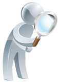 Magnifying glass silver man Stock Photography