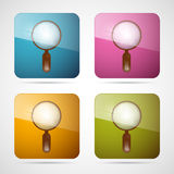 Magnifying Glass Square Icons Set. Vector 3d Blue, Pink, Orange and Green Magnifying Glass Square Icons Set stock illustration