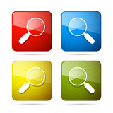 Magnifying Glass Square Icons Set. Vector 3d Blue, Red, Yellow and Green Magnifying Glass Square Icons Set Royalty Free Stock Images